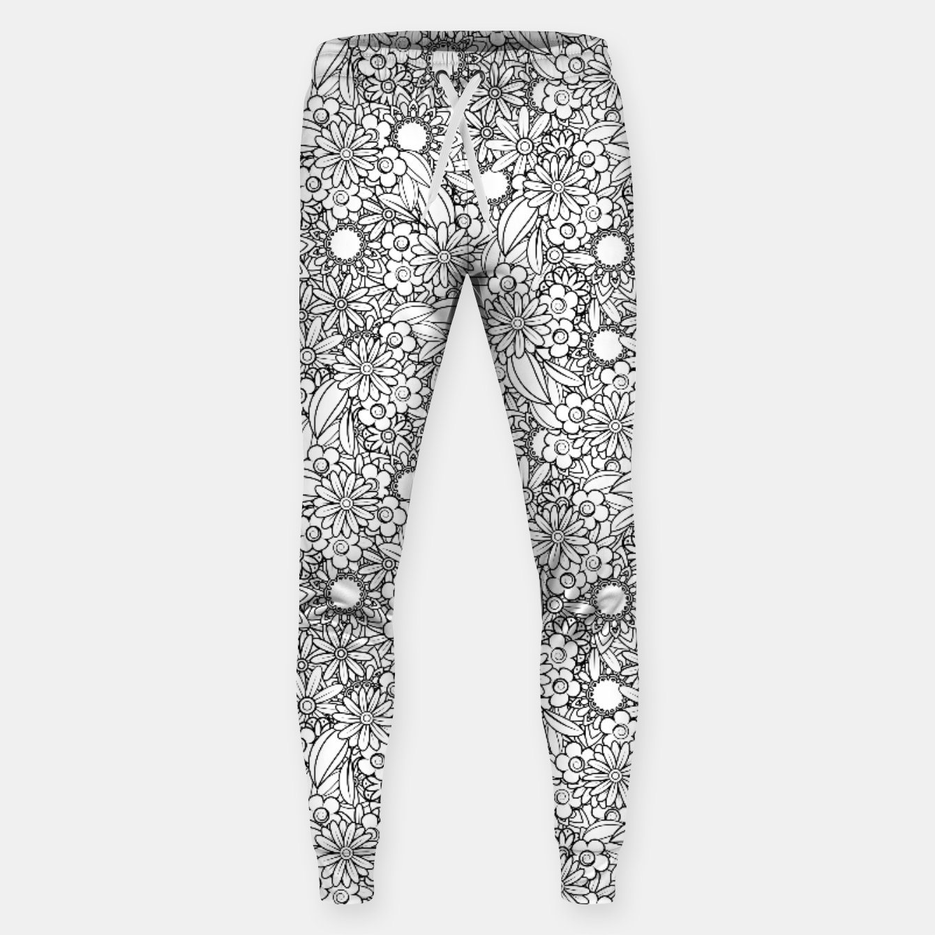 Image of Floral - BW - Mandala Pattern - 04 Sweatpants - Live Heroes