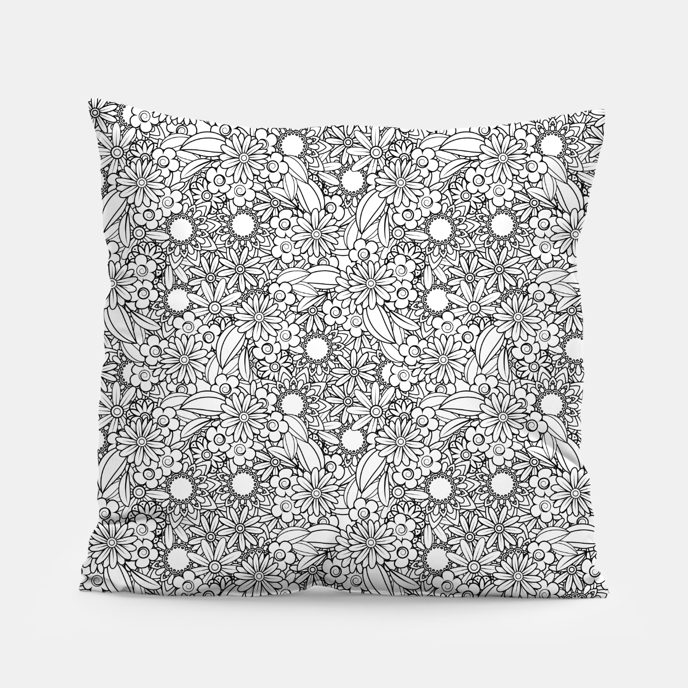 Image of Floral - BW - Mandala Pattern - 04 Pillow - Live Heroes