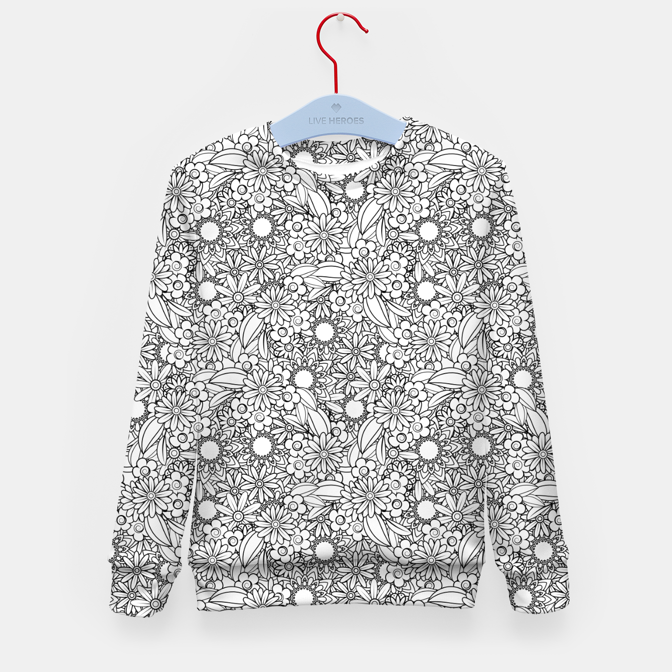 Foto Floral - BW - Mandala Pattern - 04 Kid's sweater - Live Heroes