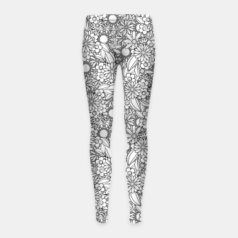 Floral - BW - Mandala Pattern - 04 Girl's leggings miniature