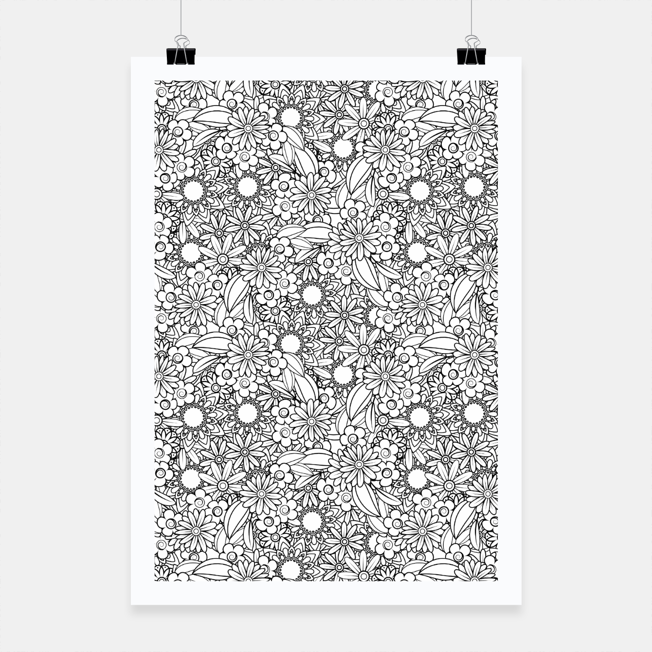 Foto Floral - BW - Mandala Pattern - 04 Poster - Live Heroes