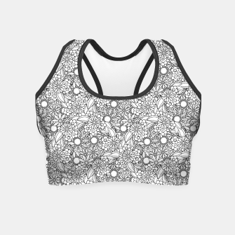 Floral - BW - Mandala Pattern - 04 Crop Top miniature