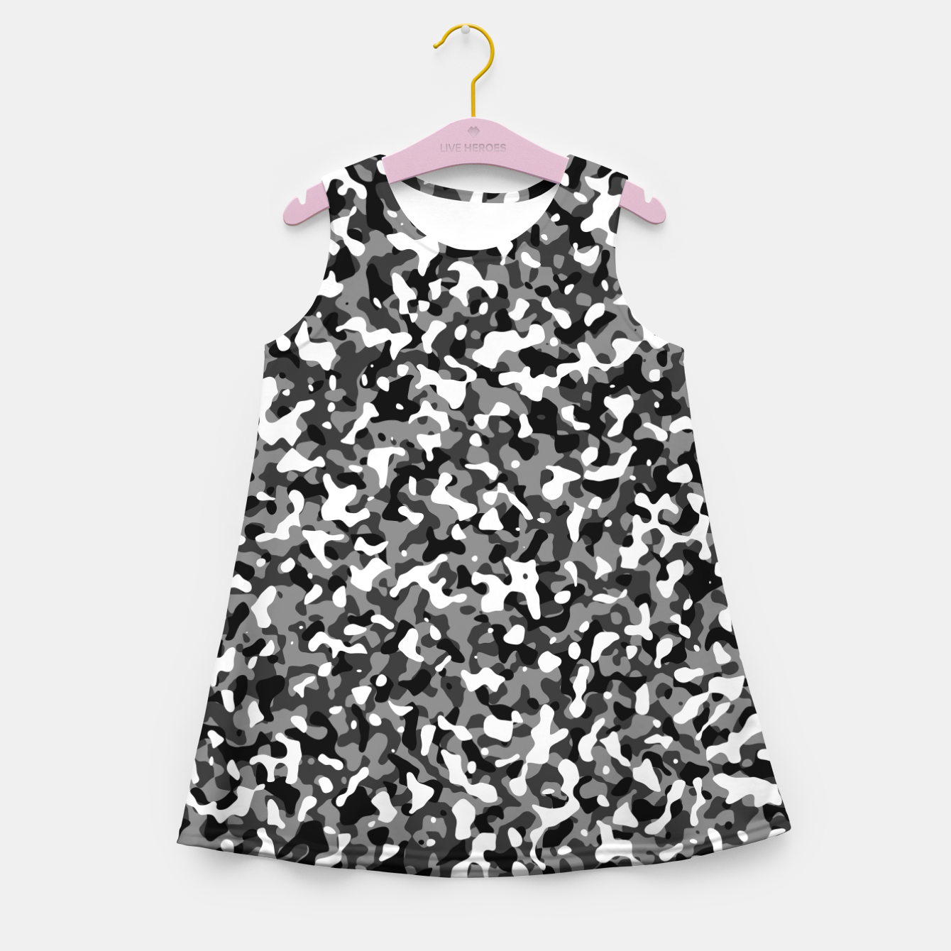 Image of Snow Pattern Camouflage Style Mädchen-Sommerkleid - Live Heroes