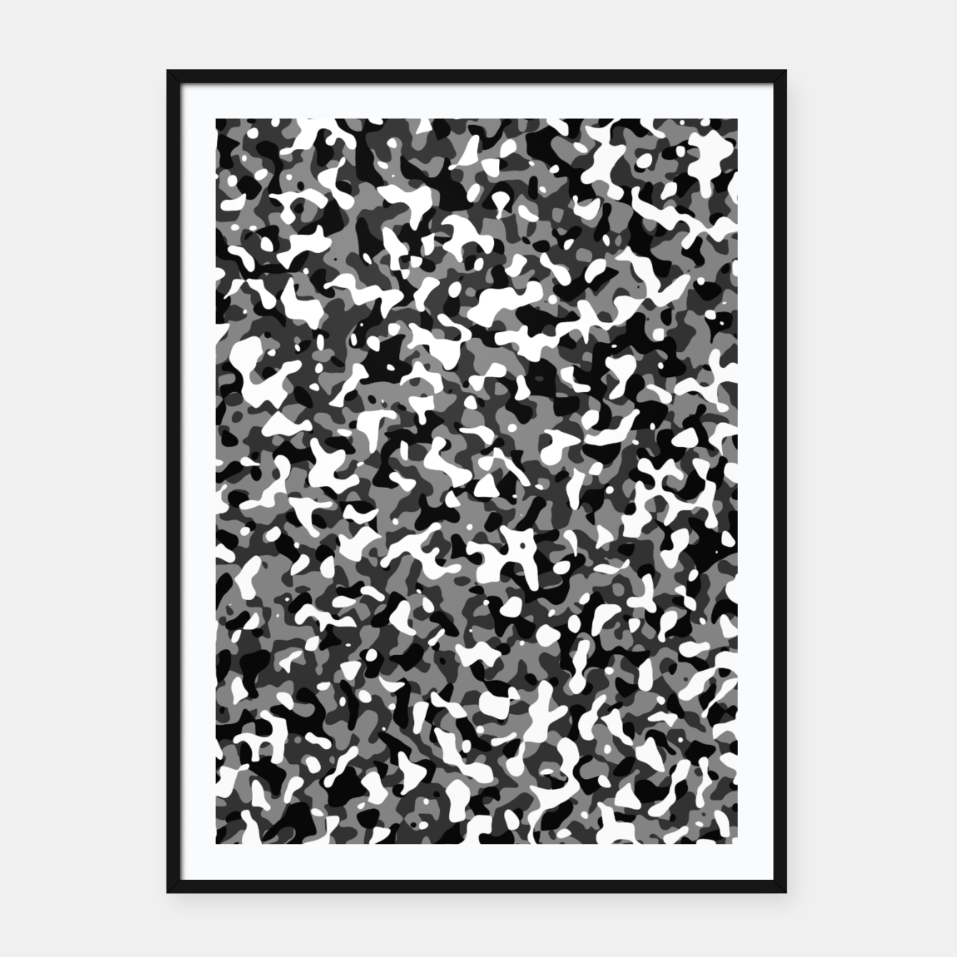 Image of Snow Pattern Camouflage Style Plakat mit rahmen - Live Heroes