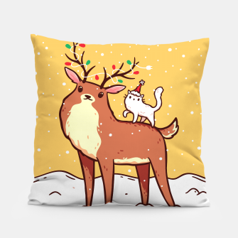 Miniature de image de Cute Reindeer with Antlers Tangled with Christmas Lights & White Cat in Santa Hat, Kawaii Pillow, Live Heroes