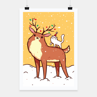 Miniature de image de Cute Reindeer with Antlers Tangled with Christmas Lights & White Cat in Santa Hat, Kawaii Poster, Live Heroes