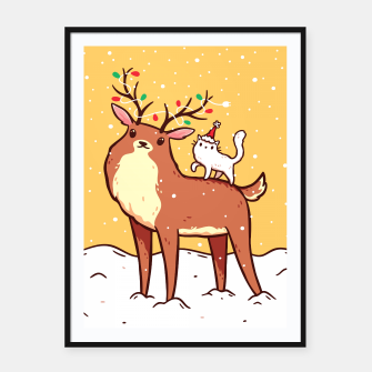 Miniature de image de Cute Reindeer with Antlers Tangled with Christmas Lights & White Cat in Santa Hat, Kawaii Framed poster, Live Heroes