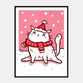 Miniature de image de Cute White Cat in Santa Hat & Scarf, Christmas, Winter, Kawaii Framed poster, Live Heroes