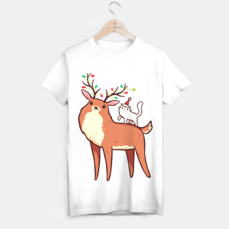 Miniature de image de Cute Reindeer with Antlers Tangled with Christmas Lights & White Cat in Santa Hat, Kawaii T-shirt regular, Live Heroes