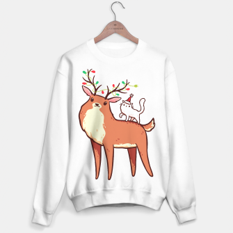 Miniature de image de Cute Reindeer with Antlers Tangled with Christmas Lights & White Cat in Santa Hat, Kawaii Sweater regular, Live Heroes
