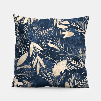Thumbnail image of Gold Blue Jungle Pillow, Live Heroes