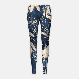 Thumbnail image of Gold Blue Jungle Girl's leggings, Live Heroes