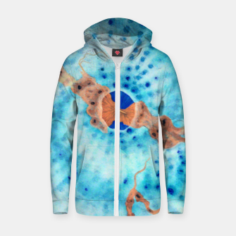 Orange striped Ice blue chalice Zip up hoodie thumbnail image