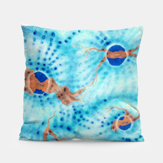 Orange striped Ice blue chalice Pillow thumbnail image