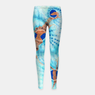 Thumbnail image of Orange striped Ice blue chalice Girl's leggings, Live Heroes