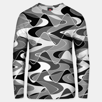 Black and white space waves distribution, cosmos abstraction, scientific design Unisex sweater miniature