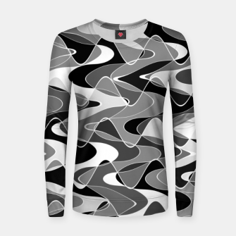 Black and white space waves distribution, cosmos abstraction, scientific design Women sweater miniature