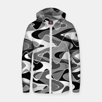 Black and white space waves distribution, cosmos abstraction, scientific design Zip up hoodie miniature
