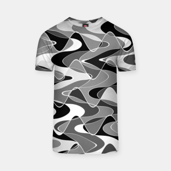 Black and white space waves distribution, cosmos abstraction, scientific design T-shirt miniature