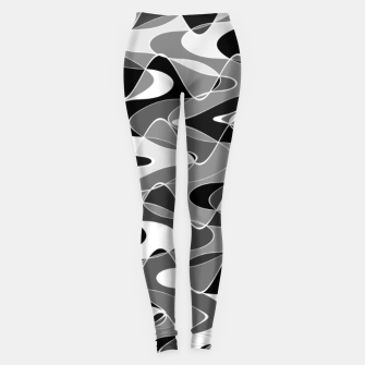Black and white space waves distribution, cosmos abstraction, scientific design Leggings miniature
