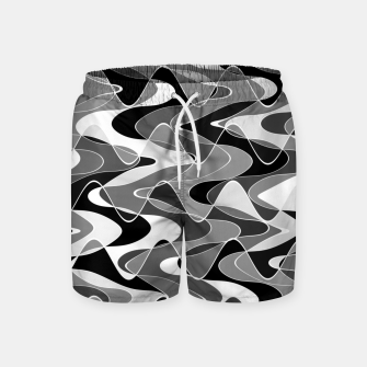 Black and white space waves distribution, cosmos abstraction, scientific design Swim Shorts miniature