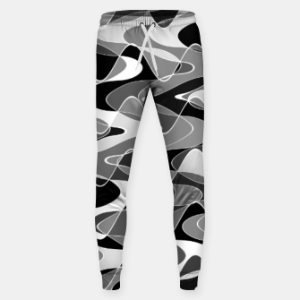 Black and white space waves distribution, cosmos abstraction, scientific design Sweatpants miniature