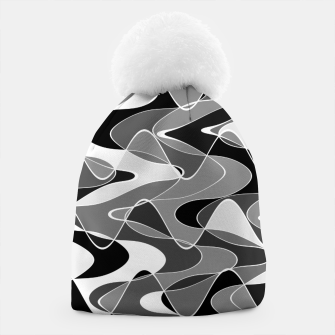 Black and white space waves distribution, cosmos abstraction, scientific design Beanie miniature