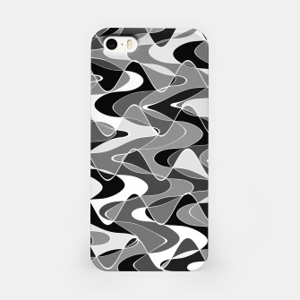 Black and white space waves distribution, cosmos abstraction, scientific design iPhone Case miniature