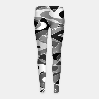 Black and white space waves distribution, cosmos abstraction, scientific design Girl's leggings miniature