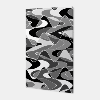 Black and white space waves distribution, cosmos abstraction, scientific design Canvas miniature