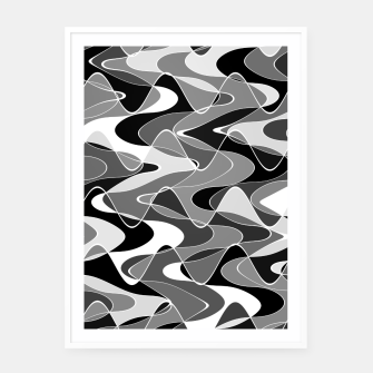 Black and white space waves distribution, cosmos abstraction, scientific design Framed poster miniature