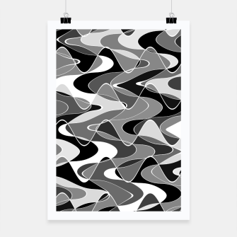 Black and white space waves distribution, cosmos abstraction, scientific design Poster miniature