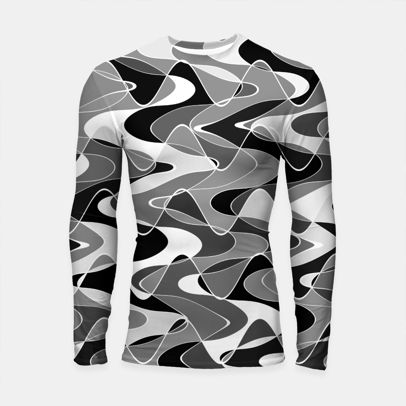 Image de Black and white space waves distribution, cosmos abstraction, scientific design Longsleeve rashguard  - Live Heroes
