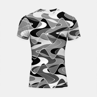 Black and white space waves distribution, cosmos abstraction, scientific design Shortsleeve rashguard miniature
