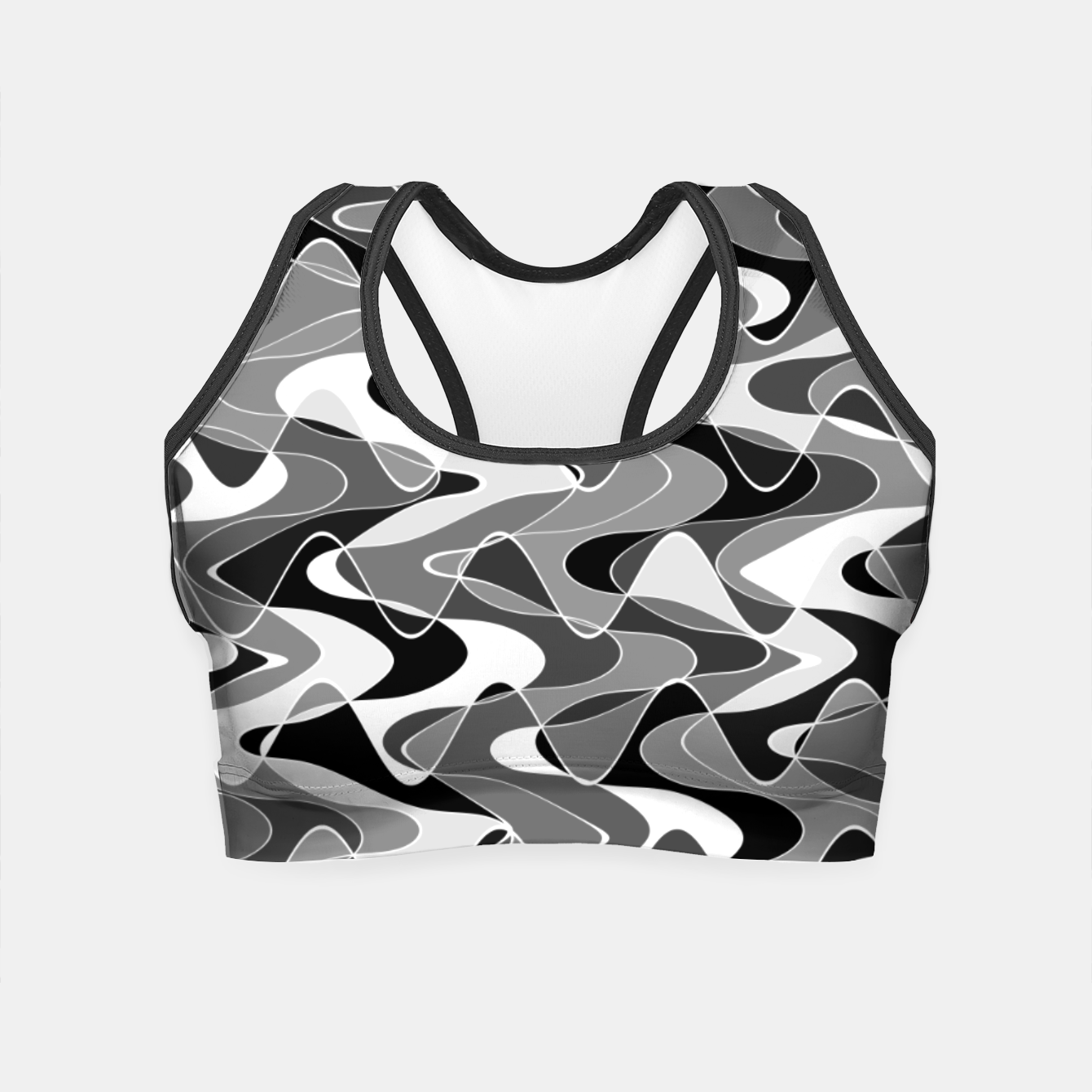 Image de Black and white space waves distribution, cosmos abstraction, scientific design Crop Top - Live Heroes
