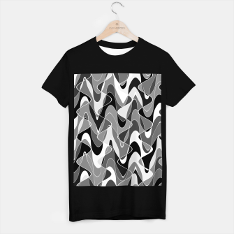 Miniature de image de Black and white space waves distribution, cosmos abstraction, scientific design T-shirt regular, Live Heroes