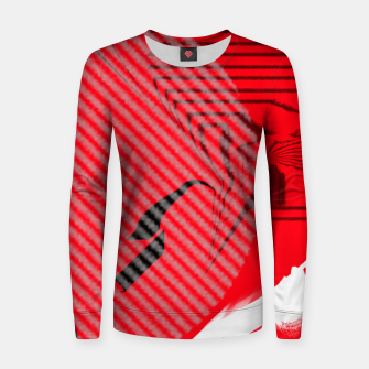 Thumbnail image of red abstract striped digital art Women sweater, Live Heroes