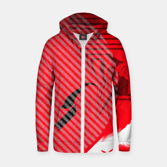 Thumbnail image of red abstract striped digital art Zip up hoodie, Live Heroes