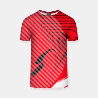 Thumbnail image of red abstract striped digital art T-shirt, Live Heroes