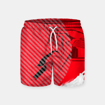 Thumbnail image of red abstract striped digital art Swim Shorts, Live Heroes