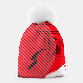 Thumbnail image of red abstract striped digital art Beanie, Live Heroes