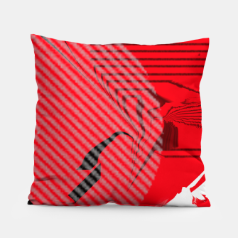 Thumbnail image of red abstract striped digital art Pillow, Live Heroes