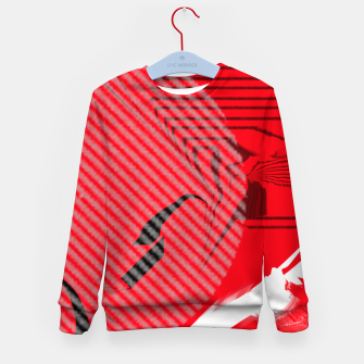 Thumbnail image of red abstract striped digital art Kid's sweater, Live Heroes