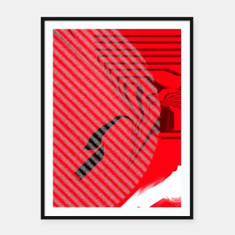 Thumbnail image of red abstract striped digital art Framed poster, Live Heroes