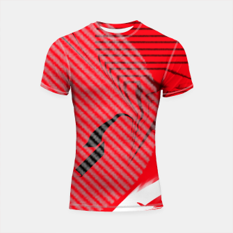 Thumbnail image of red abstract striped digital art Shortsleeve rashguard, Live Heroes