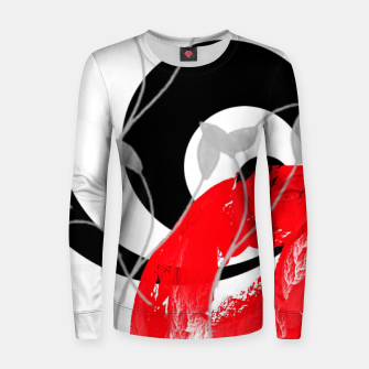 Thumbnail image of red wave abstract geometric digital art Women sweater, Live Heroes