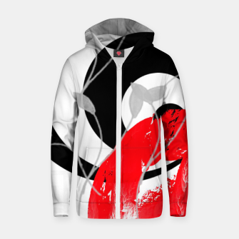 red wave abstract geometric digital art Zip up hoodie thumbnail image