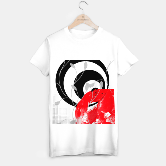 Miniatur red wave abstract geometric digital art T-shirt regular, Live Heroes