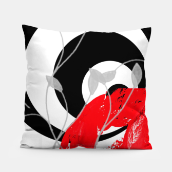 Miniatur red wave abstract geometric digital art Pillow, Live Heroes
