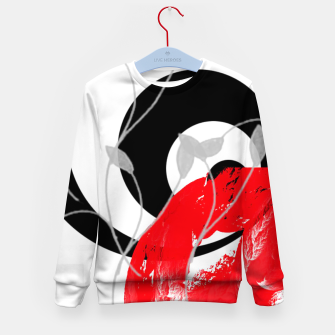 Miniatur red wave abstract geometric digital art Kid's sweater, Live Heroes
